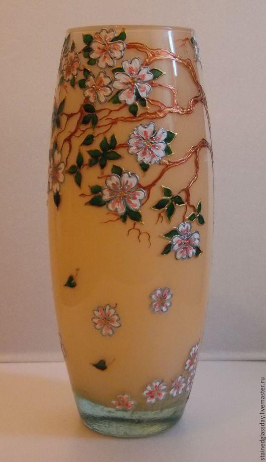 Декоративная ваза  Цветущая ветка черешни Матовое стекло