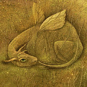 Картины и панно ручной работы. Ярмарка Мастеров - ручная работа Зеленое имя...Картина-принт на холсте.. Handmade.