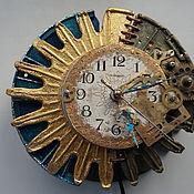 """Для дома и интерьера ручной работы. Ярмарка Мастеров - ручная работа ночник-часы настенные """"Солнечное затмение"""" в стиле стимпанк. Handmade."""