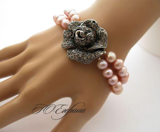 """Браслеты ручной работы. Ярмарка Мастеров - ручная работа. Купить Браслет """"Черная роза"""". Handmade. Бледно-розовый, подарок девушке"""