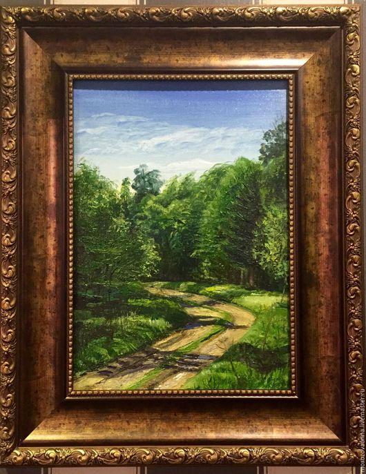 """Пейзаж ручной работы. Ярмарка Мастеров - ручная работа. Купить Картина маслом """"весенняя зелень"""". Handmade. Зеленый, масляные краски"""