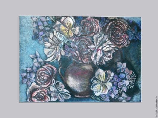 """Картины цветов ручной работы. Ярмарка Мастеров - ручная работа. Купить Картина пастелью """"Цветы"""". Handmade. Натюрморт, натюрморт с цветами"""