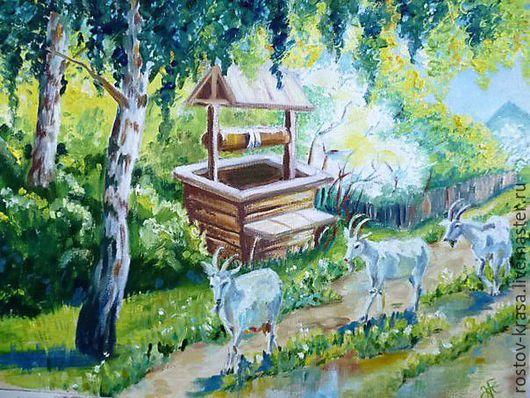 """Пейзаж ручной работы. Ярмарка Мастеров - ручная работа. Купить Картина """"Деревенское утро"""". Handmade. Картина маслом, подарок, детство"""