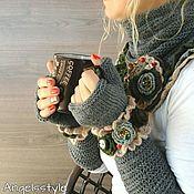 Аксессуары handmade. Livemaster - original item Snood, fingerless gloves and a brooch in the style Boho. Handmade.