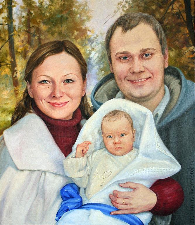 Семейный портрет маслом на холсте, Картины, Москва,  Фото №1