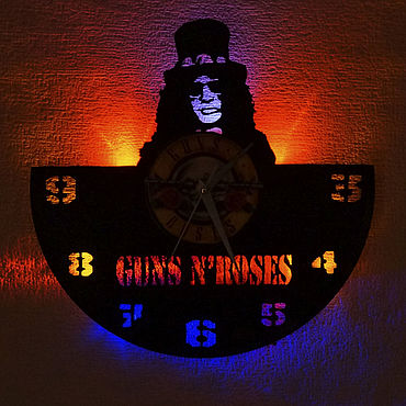 For home and interior handmade. Livemaster - original item Wall clock with LED light from the album Guns n ` Roses. Handmade.