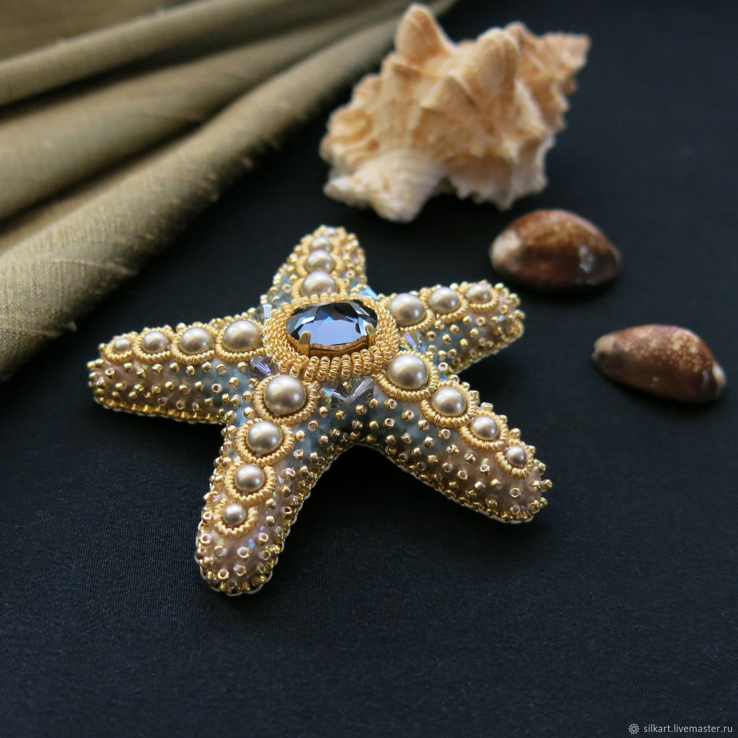 Brooch-pin: Starfish color of old gold with smoky-blue, Brooches, Zheleznodorozhny,  Фото №1