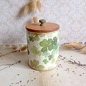 Для дома и интерьера ручной работы. Ярмарка Мастеров - ручная работа Четырехлистник, приносящий удачу - баночка для кухни. Handmade.