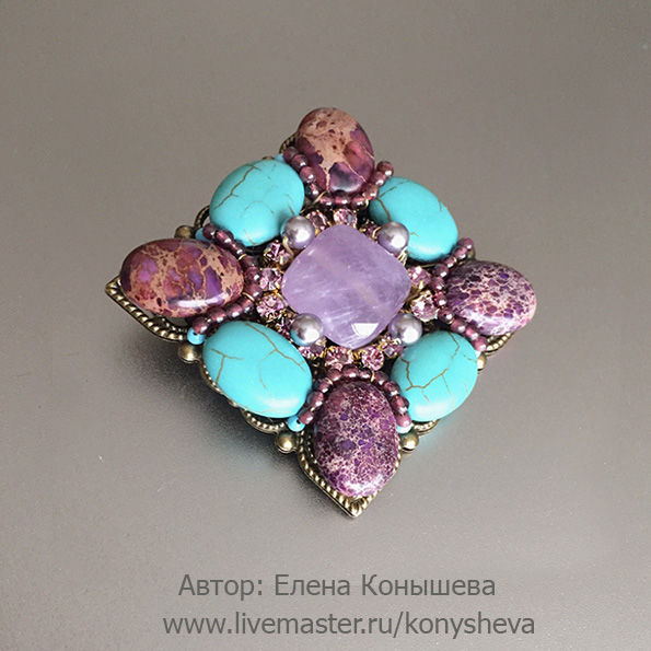 Brooch Lavender and turquoise, Brooches, Moscow, Фото №1