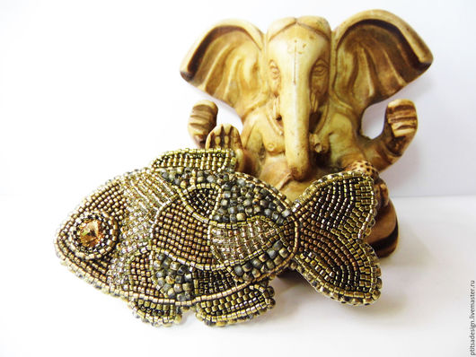 Броши ручной работы. Ярмарка Мастеров - ручная работа. Купить Золотая рыбка. Handmade. Золотой, рыбка, рыба, рыбка золотая