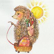 """Картины ручной работы. Ярмарка Мастеров - ручная работа """" Еж и солнце. Пасха"""" картина в детскую акварель. Handmade."""