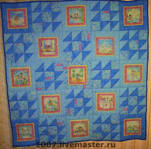 """Пледы и одеяла ручной работы. Ярмарка Мастеров - ручная работа. Купить Детское одеяло """"Голубое сияние"""". Handmade. Одеяло, голубой"""