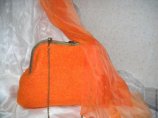 Женские сумки ручной работы. Ярмарка Мастеров - ручная работа. Купить Ярче солнца. Handmade. Рыжий, шелк натуральный, бусы