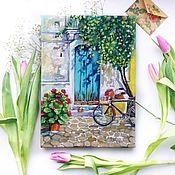 Картины и панно ручной работы. Ярмарка Мастеров - ручная работа Картина маслом. Дверь в лето бирюзовый зеленый лето. Handmade.