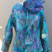 Одежда ручной работы. Ярмарка Мастеров - ручная работа Бирюзовый жакетик из шелковой мозаики. Handmade.