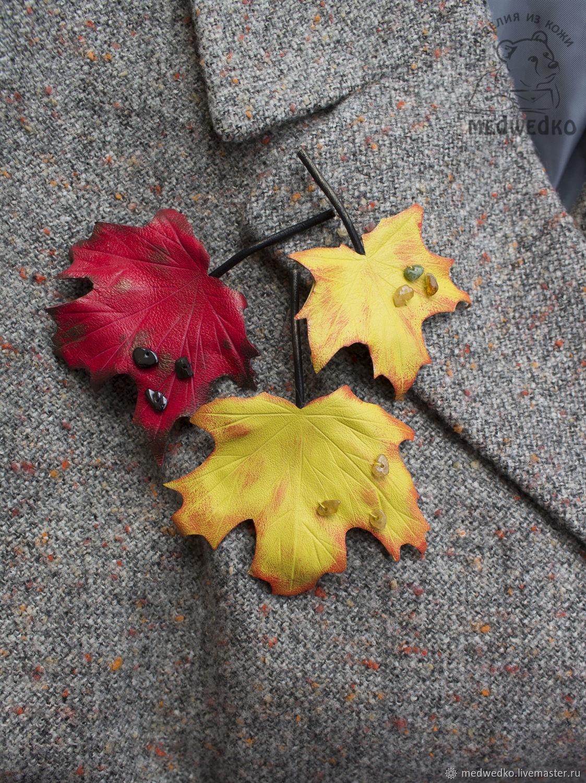 Броши: Кленовый лист из кожи, Брошь-булавка, Видное,  Фото №1