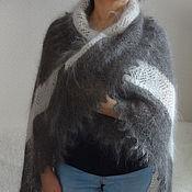 Аксессуары ручной работы. Ярмарка Мастеров - ручная работа 369, Шаль пуховый платок Уникальный с белой обвязкой. Handmade.