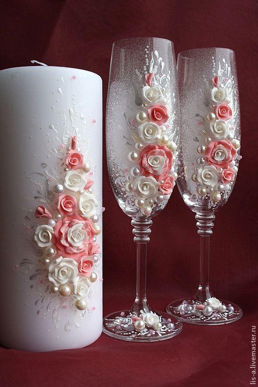 Свадебные аксессуары ручной работы. Ярмарка Мастеров - ручная работа. Купить Свадебные бокалы и свечи. Handmade. Розовый, бокалы для шампанского