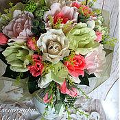 Цветы и флористика ручной работы. Ярмарка Мастеров - ручная работа Розовый сладкий букет с небольшим каскадом. Handmade.