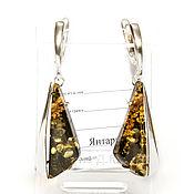 Украшения handmade. Livemaster - original item Earrings with green amber