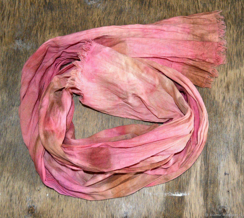 Scarf linen pink beige women's boho ethno, Scarves, Vyazma,  Фото №1