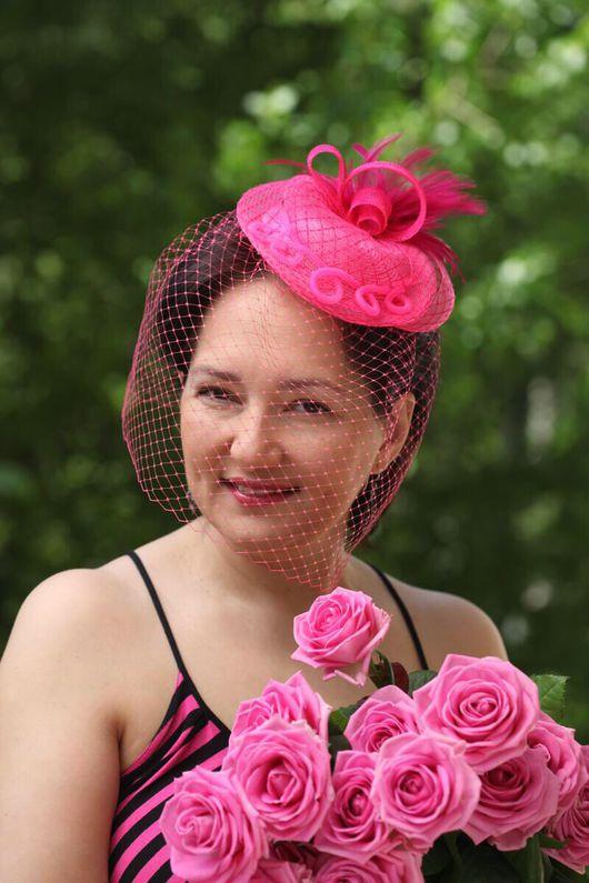 """Шляпы ручной работы. Ярмарка Мастеров - ручная работа. Купить Шляпка """"Палермо"""" с вуалью для девичника или свадьбы. Цвет: фуксия.. Handmade."""