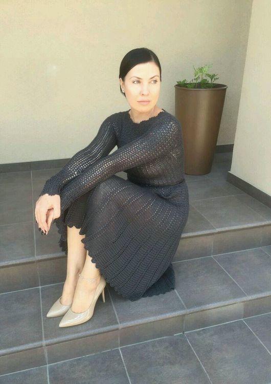 """Платья ручной работы. Ярмарка Мастеров - ручная работа. Купить Платье из кашемира с шелком """"Софика"""". Handmade. Тёмно-синий"""