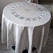Для дома и интерьера handmade. Livemaster - original item Tablecloth linen 100% grey satin -2 d. .180 cm.. Handmade.
