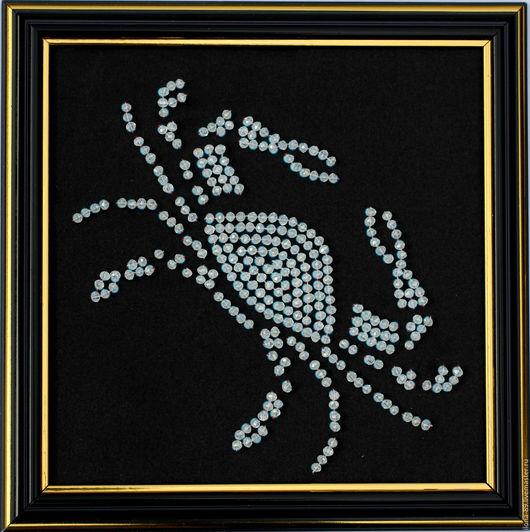 """Абстракция ручной работы. Ярмарка Мастеров - ручная работа. Купить Картина """"Знак зодиака РАК"""" вышитая камнями. Handmade."""