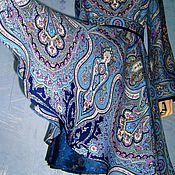 """Одежда ручной работы. Ярмарка Мастеров - ручная работа Платье из павловопосадских платков """"Испанский"""" 1 (синее). Handmade."""