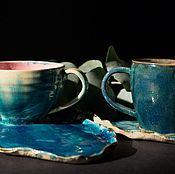 Посуда ручной работы. Ярмарка Мастеров - ручная работа Чайная пара Синие воды. Handmade.