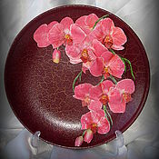 """Посуда ручной работы. Ярмарка Мастеров - ручная работа Декоративная тарелка """"Розовая орхидея""""объёмная.. Handmade."""