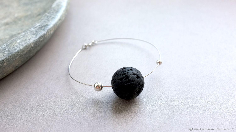 The band is rigid: Bracelet circle of volcanic lava in silver, Hard bracelet, Samara,  Фото №1