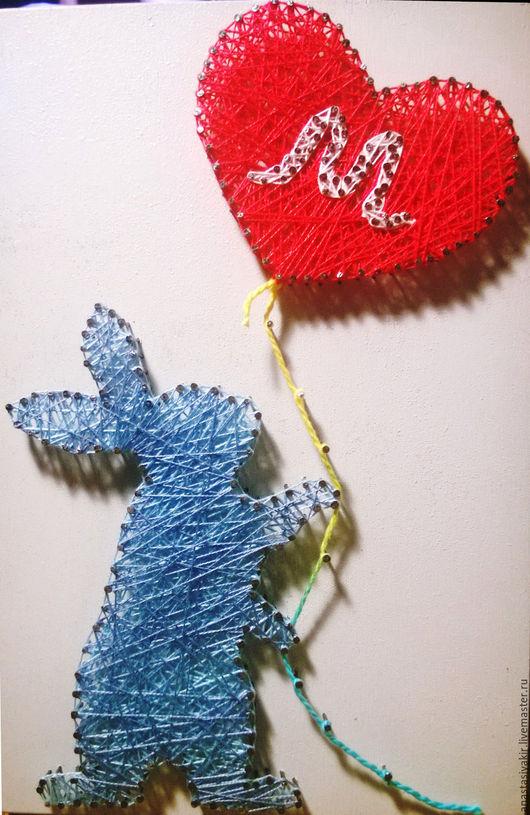 Подвески ручной работы. Ярмарка Мастеров - ручная работа. Купить Заяц в стиле String Art. Handmade. Комбинированный, дерево