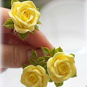 """Украшения ручной работы. Ярмарка Мастеров - ручная работа Комплект """"Лимонные розы"""" серьги+ кольцо. Handmade."""