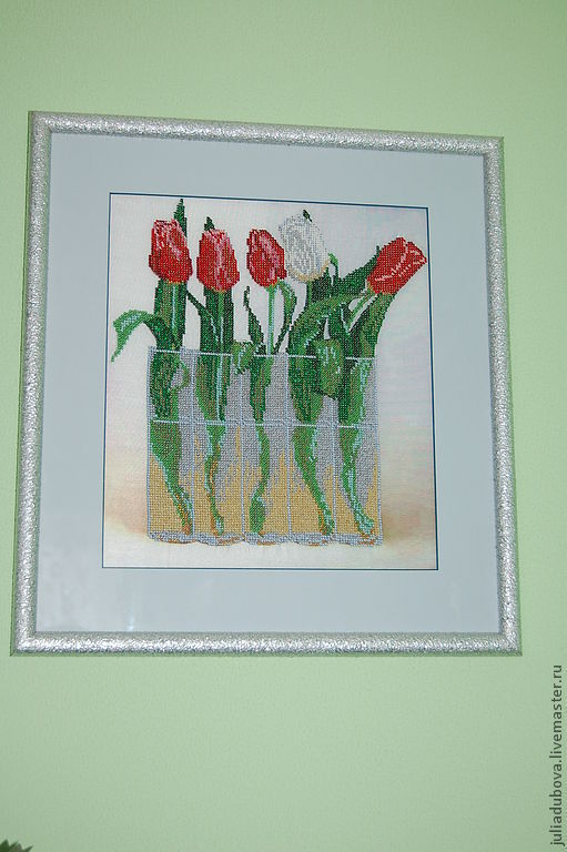 Картины цветов ручной работы. Ярмарка Мастеров - ручная работа. Купить Тюльпаны. Handmade. Картина бисером, галерея коллекций, тюльпаны