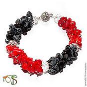 """Украшения handmade. Livemaster - original item """"Красное и черное"""" браслет коралл снежный обсидиан. Handmade."""