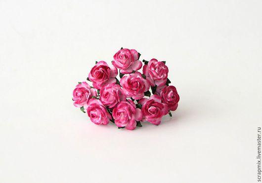 Открытки и скрапбукинг ручной работы. Ярмарка Мастеров - ручная работа. Купить Цветы розы 15 мм цвет розовый+фуксия. Handmade.