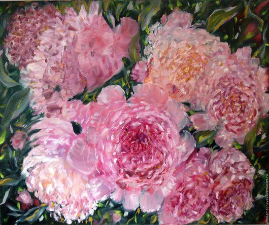 Картины цветов ручной работы. Ярмарка Мастеров - ручная работа. Купить Розовые пионы. Handmade. Комбинированный, желтый белый салатовый
