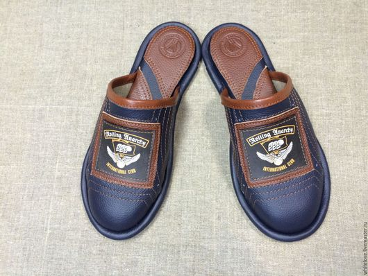"""Обувь ручной работы. Ярмарка Мастеров - ручная работа. Купить Кожаные тапочки """"Байкерские"""". Handmade. Тёмно-синий, тапки"""
