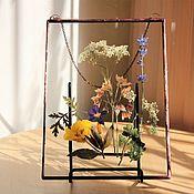 Для дома и интерьера handmade. Livemaster - original item the herbarium in the glass. Herbarium of flowers and herbs in a frame. Handmade.