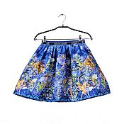 Работы для детей, handmade. Livemaster - original item Blue elegant skirt for girls with fairies from American cotton. Handmade.