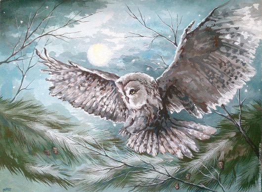 """Пейзаж ручной работы. Ярмарка Мастеров - ручная работа. Купить картина """"Тень"""". Handmade. Картина для интерьера, сова, недорогой подарок"""