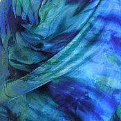 Аксессуары ручной работы. Ярмарка Мастеров - ручная работа Палантин батик Синии травы 100%шелк ручная роспись. Handmade.