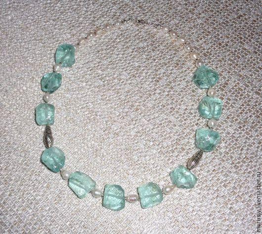 Колье, бусы ручной работы. Ярмарка Мастеров - ручная работа. Купить Ожерелье из голубого кварца и жемчуга. Ювелирное украшение. Handmade.