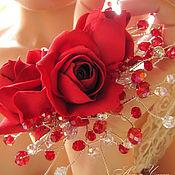 Свадебный салон ручной работы. Ярмарка Мастеров - ручная работа Красные розы. Украшение в прическу невесты. Handmade.