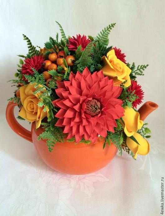 Интерьерные композиции ручной работы. Ярмарка Мастеров - ручная работа. Купить Осенний вальс. Handmade. Оранжевый, цветы из полимерной глины