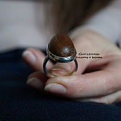 Украшения handmade. Livemaster - original item Ring, silver with wooden cabochon Elegy. Handmade.
