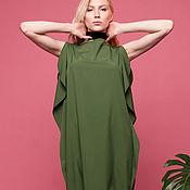 Платья ручной работы. Ярмарка Мастеров - ручная работа Платье зеленое с воланами. Handmade.