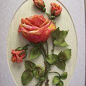 Картины и панно ручной работы. Ярмарка Мастеров - ручная работа Картина вышитая лентами на органзе Мраморная роза. Handmade.